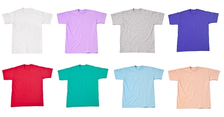 red shirt: collection of  various t shirts on white background  each one is shot separately Stock Photo