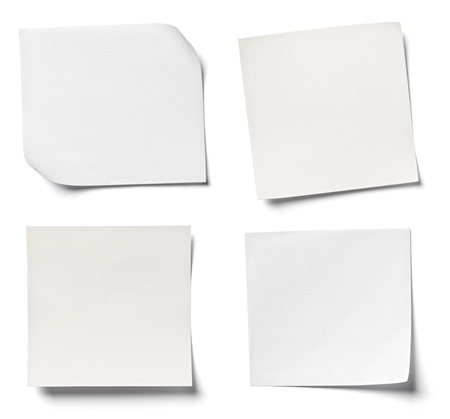 page: collection of  various white note papers on white background  each one is shot separately Stock Photo