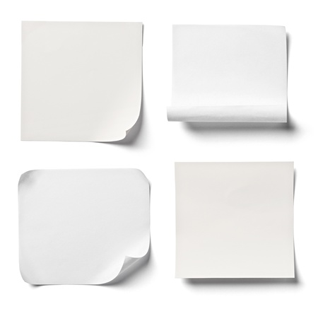 blank note book: collection of  various white note papers on white background  each one is shot separately Stock Photo