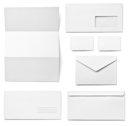 collection of various  blank white paper on white background  each one is shot separately Stock Photo - 15778700