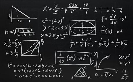 formula: close up of math formulas on a blackboard