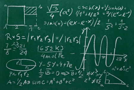 close up of math formulas on a blackboard photo