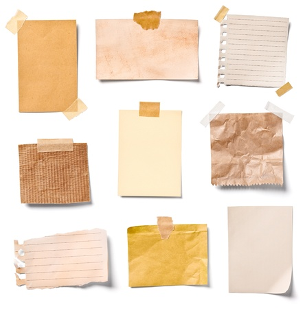 post office: collection of  various vintage note papers on white background  each one is shot separately Stock Photo