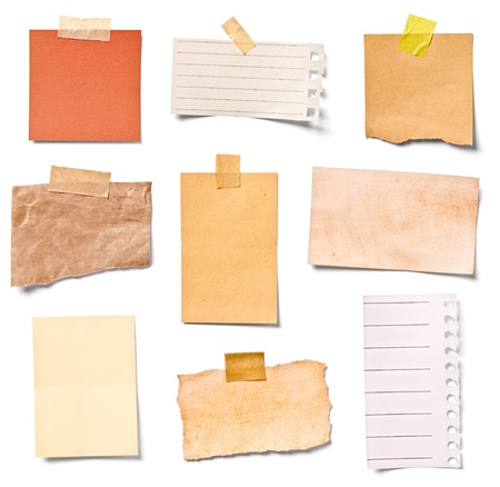 separately: collection of  various vintage note papers on white background  each one is shot separately Stock Photo