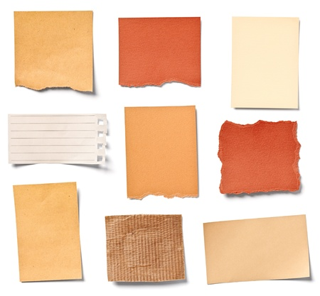 memo pad: collection of  various vintage note papers on white background  each one is shot separately Stock Photo