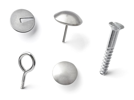 collection of various pushpins on white background  each one is shot separately Stock Photo - 15930746