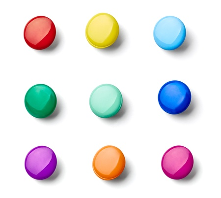 collection of various pushpins on white background  each one is shot separately Stock Photo - 15930745