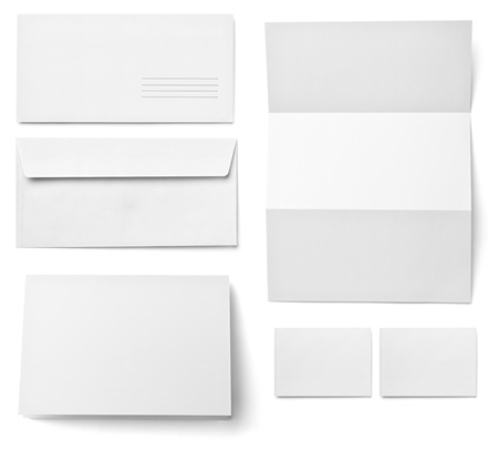 corporate identity template: collection of various  blank white paper on white background. each one is shot separately Stock Photo