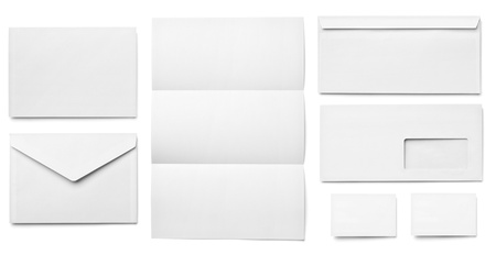 letter envelope: collection of various  blank white paper on white background. each one is shot separately Stock Photo
