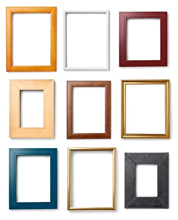 group picture: collection of various wooden frames for painting or picture on white background. each one is shot separately Stock Photo