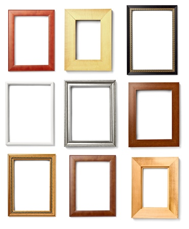 golden border: collection of various wooden frames for painting or picture on white background  each one is shot separately Stock Photo