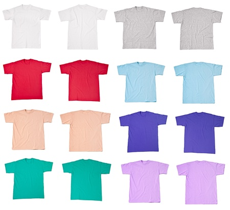 collection of  various t shirts on white background  each one is shot separately Stock Photo - 16098537