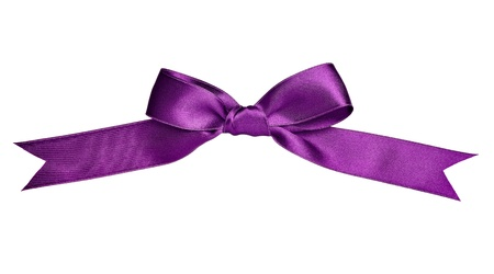 purple rose: close up of  a silk ribbon knot on white background