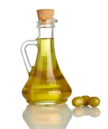 olive oil bottle: close up of olive oil on white background