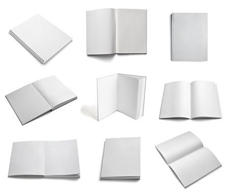 school agenda: colección de varios papel en blanco blanco sobre fondo blanco cada uno es asesinado por separado Foto de archivo