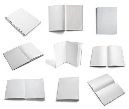 note books: collection of various  blank white paper on white background  each one is shot separately Stock Photo