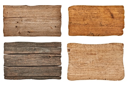 collection of various  empty wooden sign on white background. each one is shot separately Stock Photo - 16299066