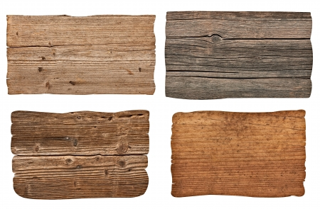 collection of various  empty wooden sign on white background. each one is shot separately Stock Photo - 16299065