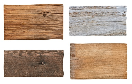 collection of various  empty wooden sign on white background. each one is shot separately Stock Photo - 16299060