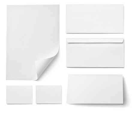 collection of various  blank white paper on white background. each one is shot separately Stock Photo - 16450045