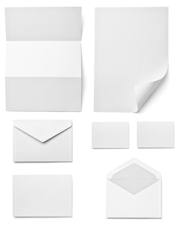 envelope: collection of various  blank white paper on white background. each one is shot separately Stock Photo