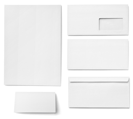 the workpiece: collection of various  blank white paper on white background. each one is shot separately Stock Photo