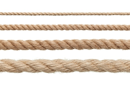 rope background: collection of various ropes on white background. each one is shot separately