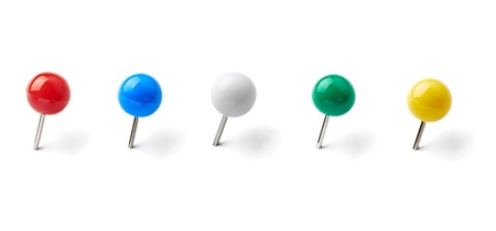 pinboard: collection of various pushpins on white background. each one is shot separately Stock Photo