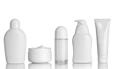 shampoo bottle: collection of  various beauty hygiene containers on white background. each one is shot separately