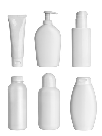 cosmetics collection: collection of  various beauty hygiene containers on white background. each one is shot separately
