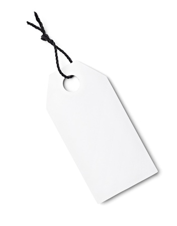 close up of a blank price label on white background Stock Photo - 16641511