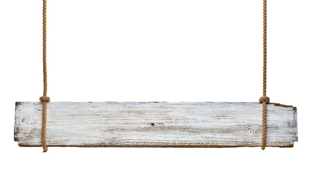 close up of an empty wooden sign hanging on a rope on white background Stock Photo - 16641635