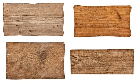 wooden plaque: collection of various  empty wooden sign on white background  each one is shot separately