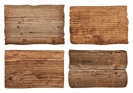 wood plank: collection of various  empty wooden sign on white background  each one is shot separately