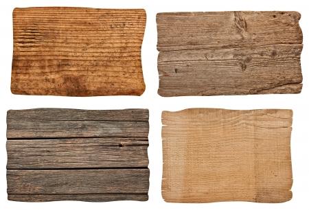 raccolta di vari segno vuoto di legno su sfondo bianco ognuno è girato separatamente
