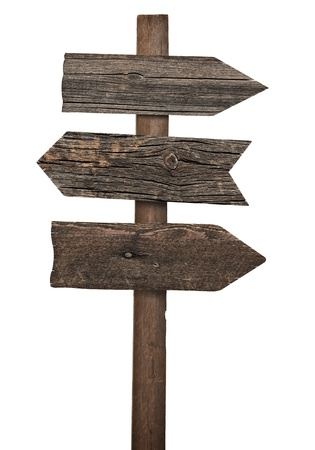 signpost: collection of various  empty wooden sign on white background  each one is shot separately