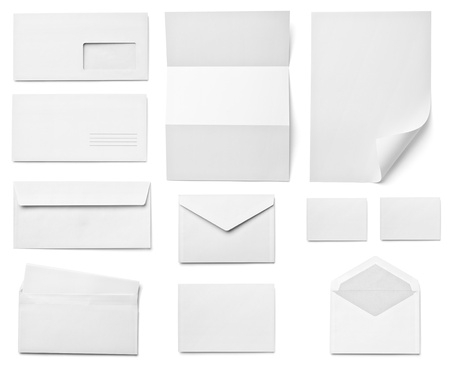 collection of various  blank white paper on white background  each one is shot separately Stock Photo - 16790592