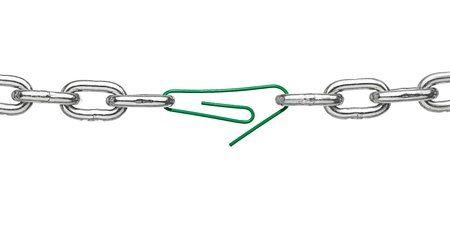 close up of a broken chain and a paper clip on white background  Stock Photo - 16790583