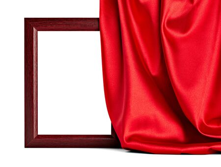 close up of  a wooden frame coverd with silk on white background with clipping path photo
