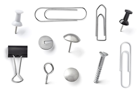 collection of various pushpins on white background  each one is shot separately Stock Photo