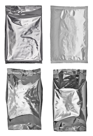 collection of various  empty aluminum bags on white background  each one is shot separately photo
