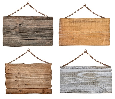 metal post: collection of  various wooden signs with chain on white background  each one is shot separately