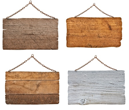 metal sign: collection of  various wooden signs with chain on white background  each one is shot separately
