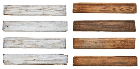 collection of various  empty wooden sign on white background  each one is shot separately