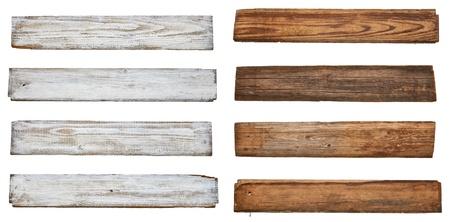 dřevěný: sbírka různých prázdné vývěsní štít na bílém pozadí je každý z nich zastřelen samostatně