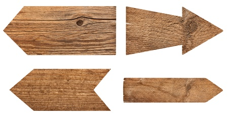 arrow wood: collection of various  empty wooden sign on white background  each one is shot separately