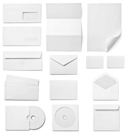 letter envelope: collection of various  blank white paper on white background  each one is shot separately Stock Photo