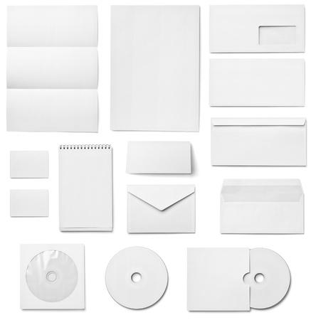 brand identity: collection of various  blank white paper on white background  each one is shot separately Stock Photo