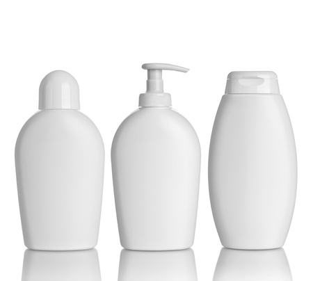 collection of  various beauty hygiene containers on white background  each one is shot separately photo