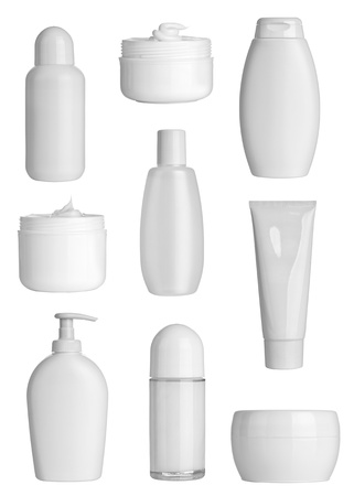 lotions: collection of  various beauty hygiene containers on white background  each one is shot separately